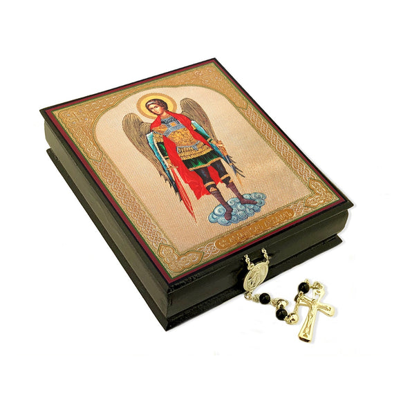 Large Black Wooden Keepsake Box St Michael Icon