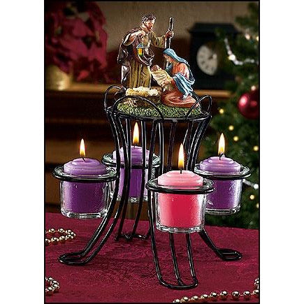 Nativity Advent Wreath With Votive Candle Holders