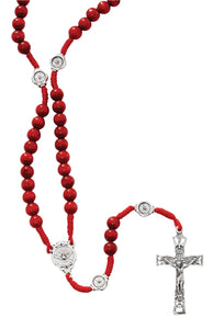 Red Wood Holy Spirit Corded Rosary