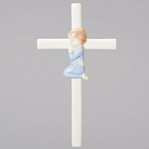 "7.5"" Praying Boy Ceramic Cross"