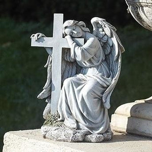 "10"" Angel Leaning On Cross Outdoor Statue"