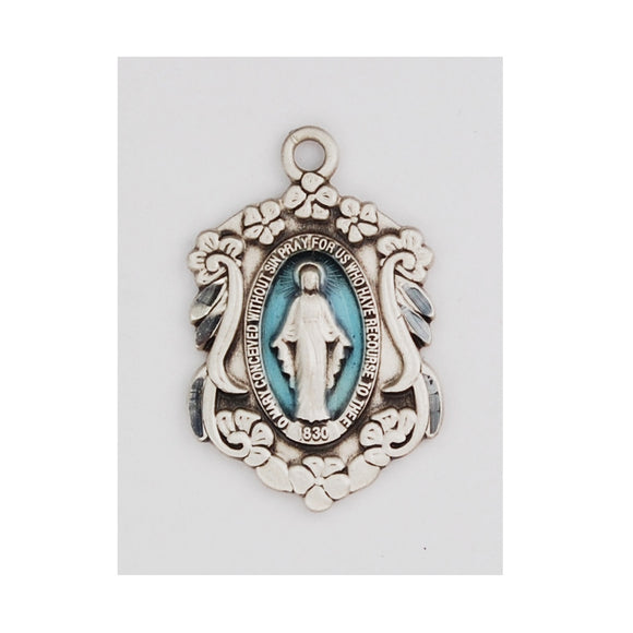 SS Miraculous Medal With Blue Enamel and Flower Border Necklace