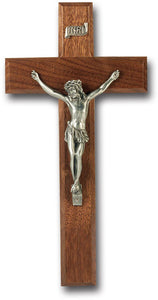 10 Inch Walnut Crucifix Pewter Corpus