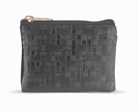 Black Mosaic Patterned Zipper Rosary Pouch