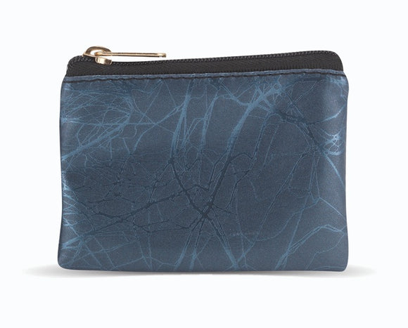 Blue Marble Patterned Zipper Rosary Pouch
