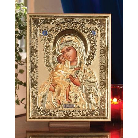 Madonna & Child Embossed Icon Plaque 8.5x10