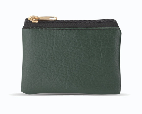 Emerald Green Leather Textured Zipper Rosary Pouch
