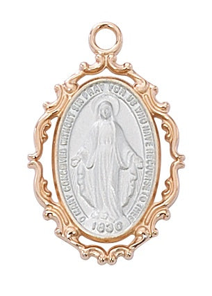 Medium Fancy Rose Gold Tutone SS Miraculous Medal Necklace