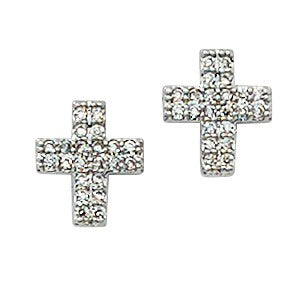 Silver And Crystal Cross Earrings