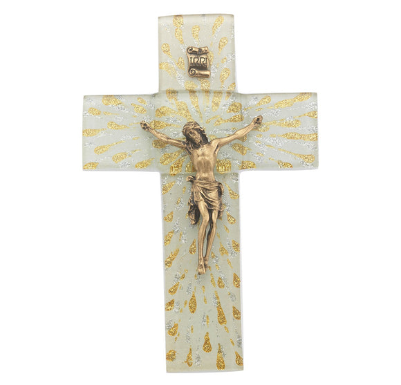 7 Inch Gold & Silver Rays White Glass Crucifix with Gold Corpus