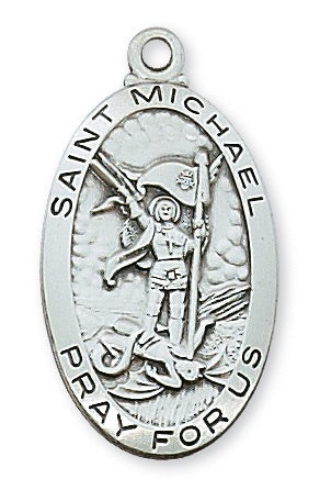 St Michael SS Large Oval Necklace