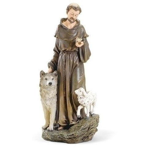 "10"" St Francis with Wolf and Lamb Statue"