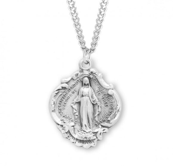 SS Large Baroque Miraculous Medal Necklace