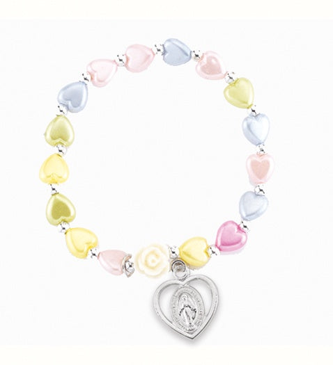 6mm Multicolored Heart Stretch Bracelet with Heart-Shaped Miraculous Medal