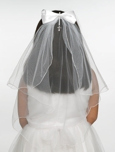 White Bow With Cross Pendant First Communion Veil
