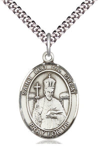 St Leo the Great SS Large Oval Medal Necklace