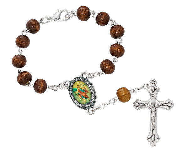 Brown Wood St Christopher Auto Rosary
