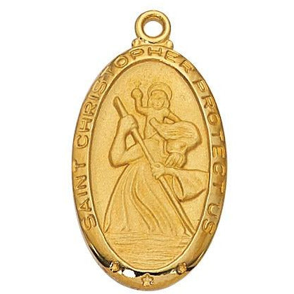 Large Oval GF St Christopher Necklace