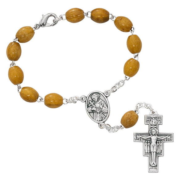Brown Wood St Francis Auto Rosary