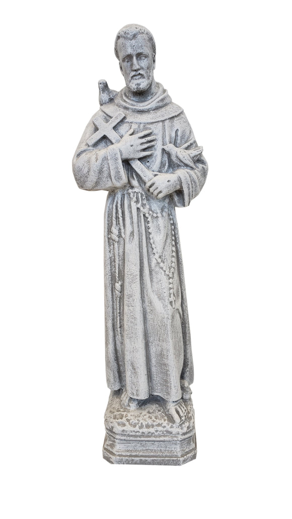 "18"" St Francis Concrete Garden Statue Granite Finish"
