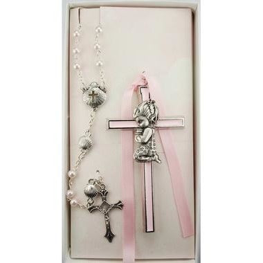 Pink Enameled Girl Baby Cross & Rosary Set