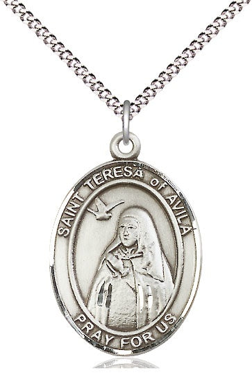 St Teresa of Avila SS Oval Necklace