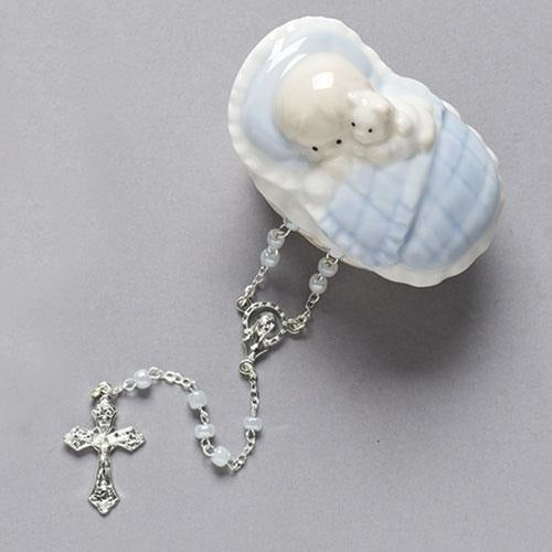 Blue Baby Porcelain Keepsake Box with Rosary