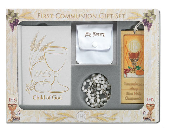 6 Piece White Child of God First Communion Gift Set