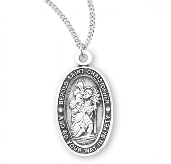 St Christopher High Profile SS Small Oval Necklace
