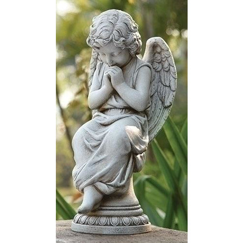 "17"" Seated Angel on Pedestal Outdoor Statue"
