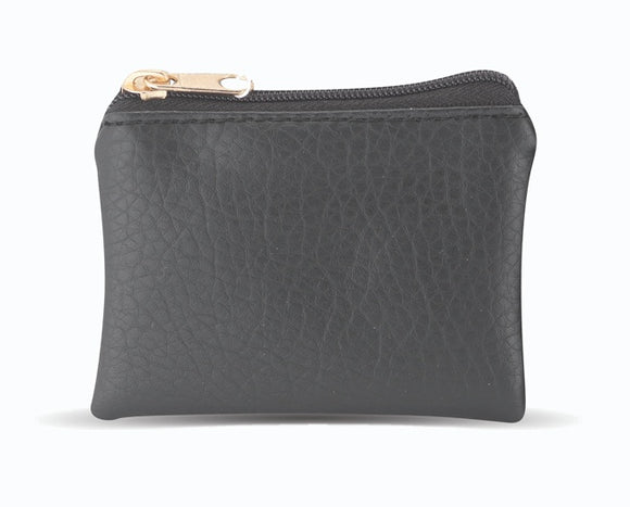 Black Leather Textured Zipper Rosary Pouch