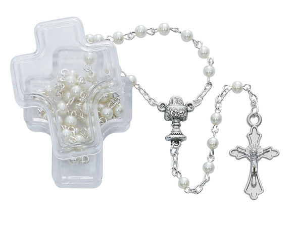 White Pearl Communion Rosary in Cross Box