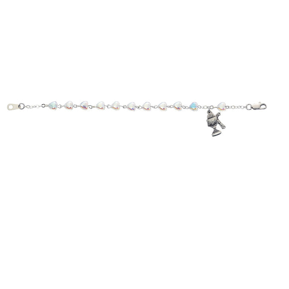 Crystal SS Youth Heart Bracelet with Chalice