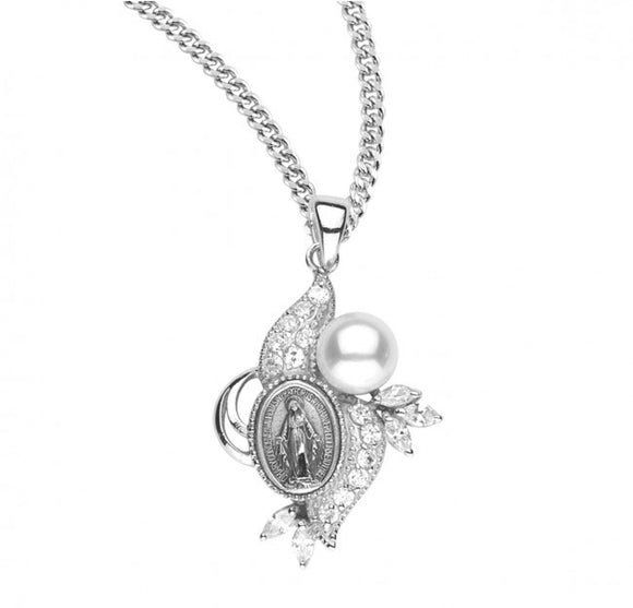 SS Miraculous Medal Pendant CZ and Pearl Necklace