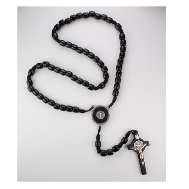 Black Inlay St Benedict Corded Rosary