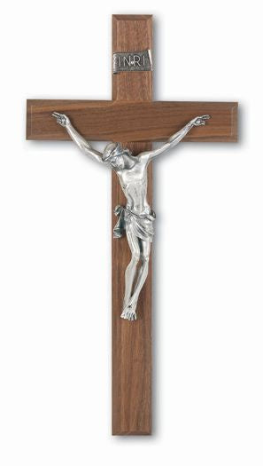 "13"" Walnut Crucifix with Silver Corpus"