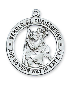 St Christopher SS Large Open Medal Necklace