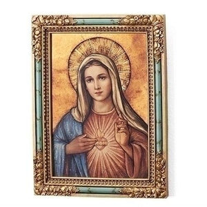 Immaculate Heart Of Mary Icon Square Plaque