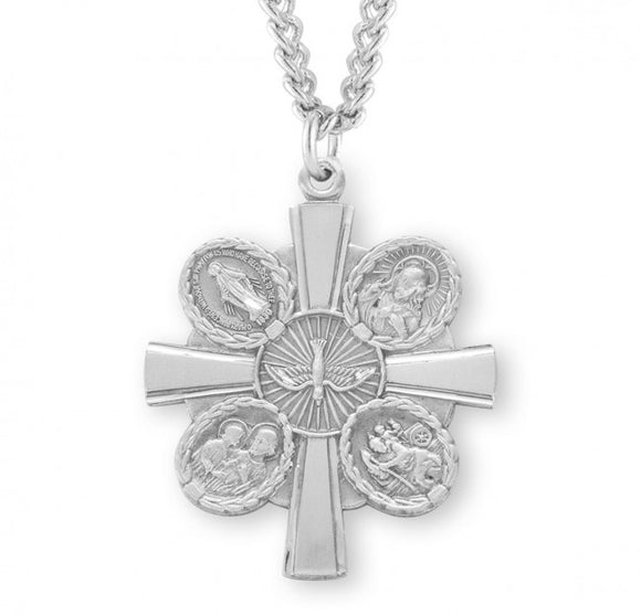 Large SS 4-Way Cross Necklace