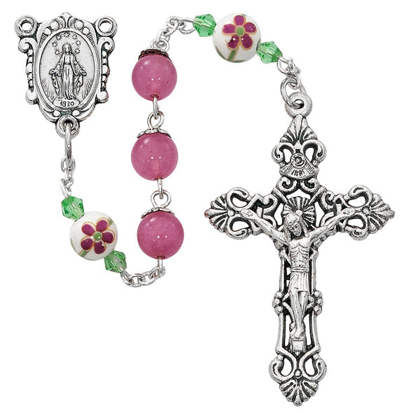 Pink and Ceramic Bead Flower Rosary with Mysteries Centerpiece