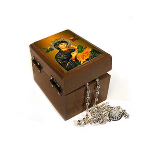Small Wooden Keepsake Box Perpetual Help Icon