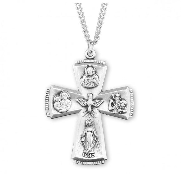 SS Large Cross 4-Way Medal Necklace