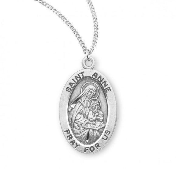 St Anne SS Small Oval Necklace