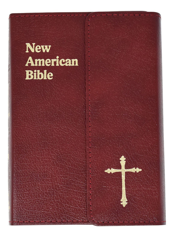 New American Bible Burgundy Leather Flap Gift Edition Personal Size