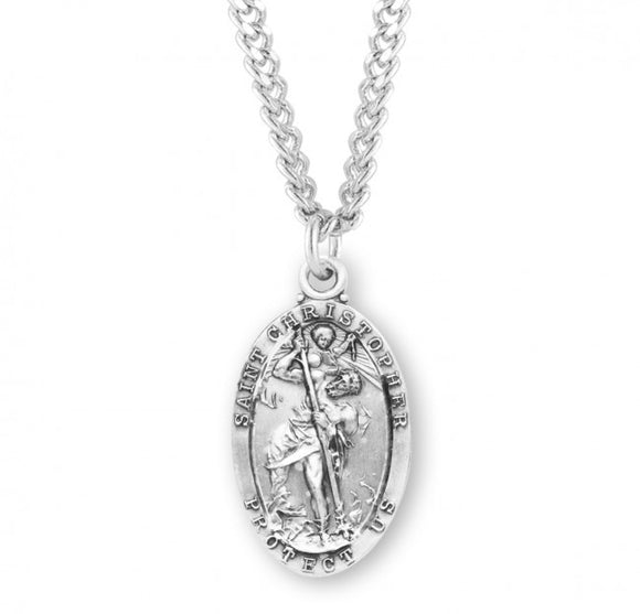 St Christopher SS Retro Oval Medal Necklace