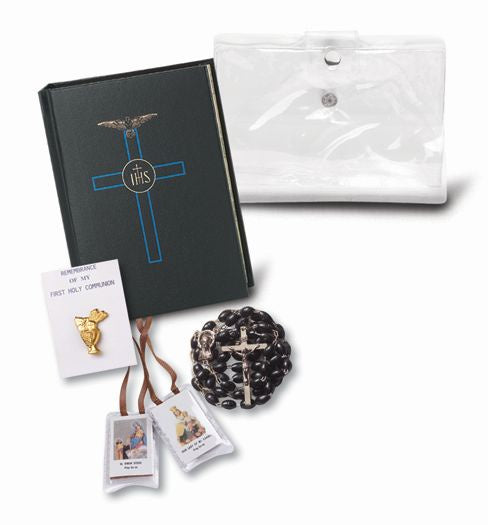 Black First Communion Five Piece Gift Set With Carrying Case