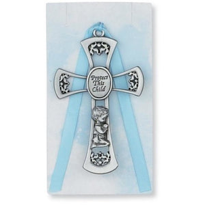 Blue Protect This Child Crib Cross