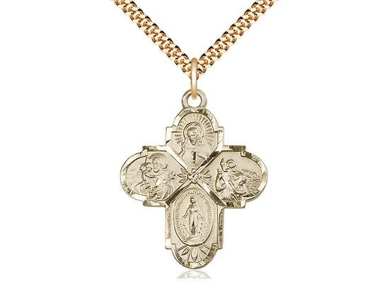 Large Fine GF 4-Way Medal Necklace
