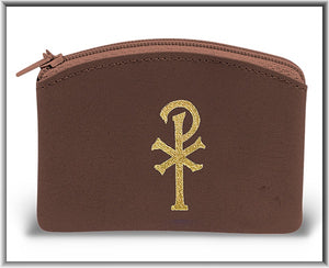 Brown Chi Rho Rosary Pouch