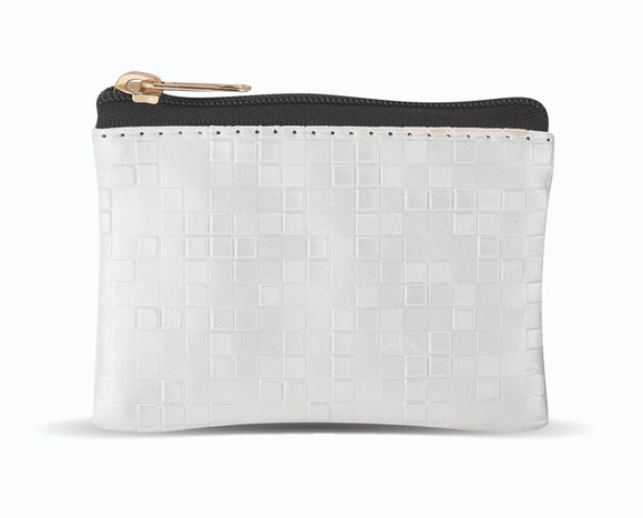 White Mosaic Patterned Zipper Rosary Pouch